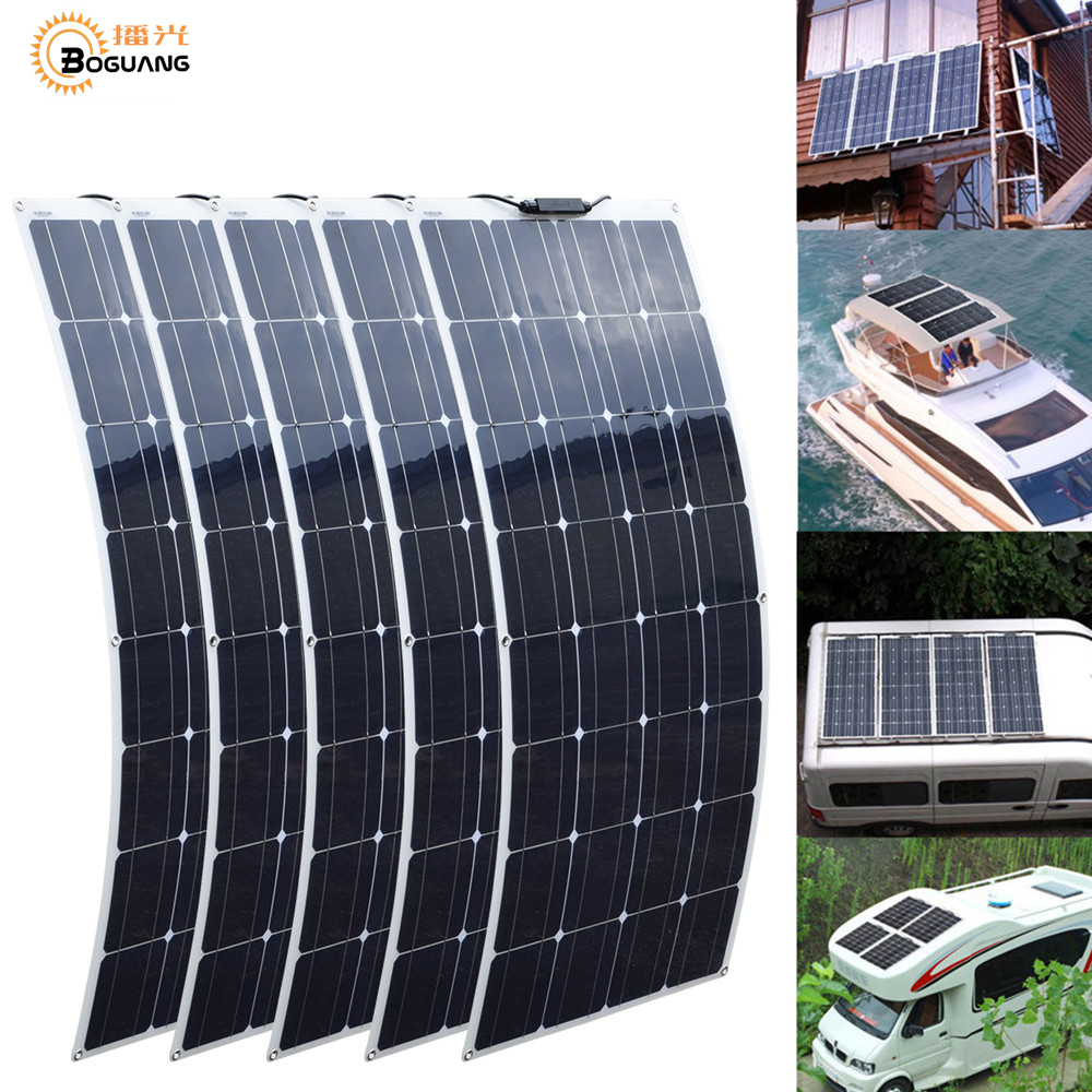 2 pces 4 pces 10 pces 100 w painel solar monocristalino célula solar flexível para carro/iate/navio 12 v 24 volts 100 watts bateria solar