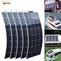 2 piezas 4 piezas 10 piezas 100 W panel solar monocristalino de la célula Solar Flexible para del coche/del yate/barco de vapor batería Solar de 12 V 24 voltios de 100 vatios