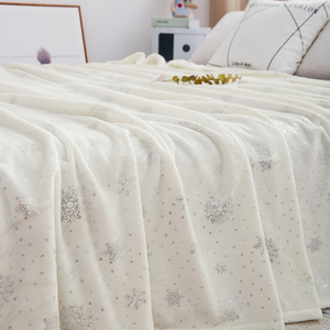 Image 2 - Luxury Bed Linens 230*250cm Soft Flannel Blankets For Double Bed Hot Silver King Size Bedspread Plaid Blankets On The Bed