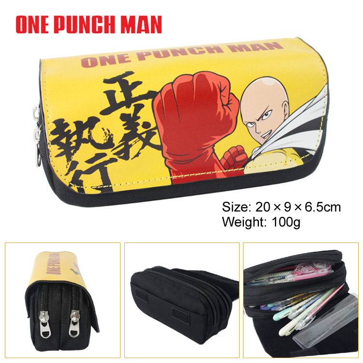 One Punch Man Canvas Double Zipper Pencil Bag Anime Pencil Case Kids Girl Gift Stationery Container School Supplies black bluter canvas roll up pencil bag anime pencil case kids boy gift stationery school supplies