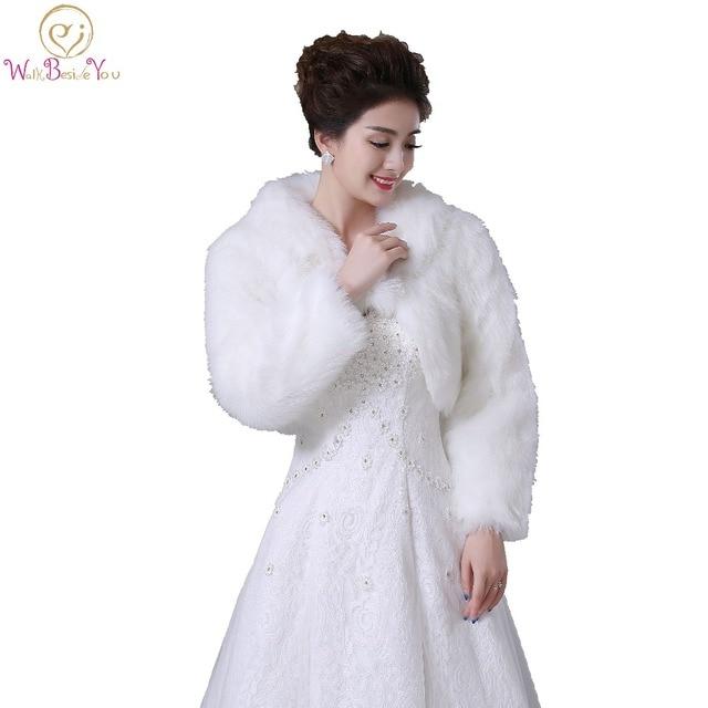 7ed8bfc6e875c Walk Beside You Real Photos Ivory/White Faux Fur Long Sleeves Wedding  Jacket Bridal Bolero Party Wrap Customize