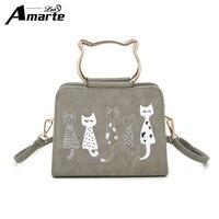 Amarte Women Handbags 2017 New Fashion Women Scrub Leather Shoulder Bags Cute Cartoon Cats Printed Small