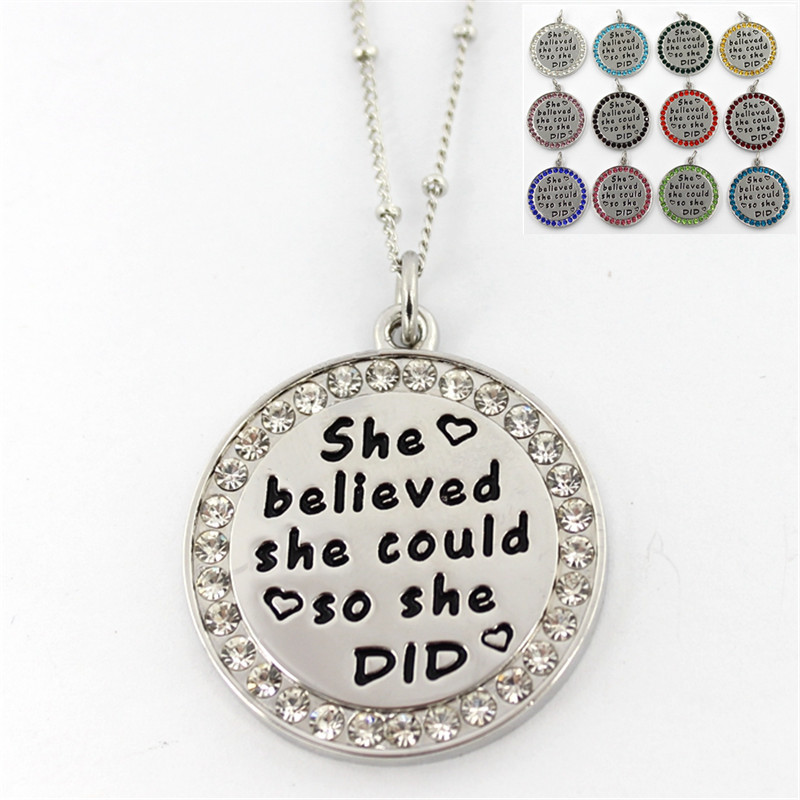 Inspirational JewelryShe believed she could so she did Round Pendant Charm Chain Necklace Silver Crystal Choker Necklace