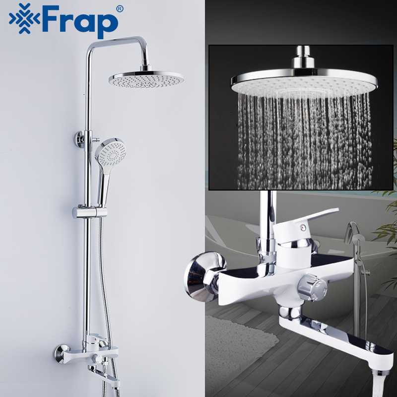 Frap chuveiro torneiras conjunto branco sistema de chuveiro do banheiro banho misturador do chuveiro torneira da cabeça de chuveiro chuvas torneiras fixado na parede torneira