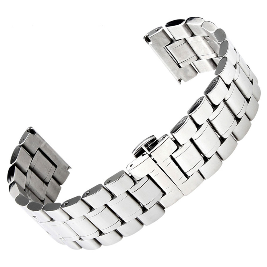 Solid Stainless Steel Watchband 18/19/20/22/24/26/28mm Silver/Black Color Men Watches Strap Butterfly Clasp Bracelet Adjustable