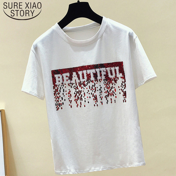 Vintage Summer Top Female T-shirt Short Sleeve Sequin Black Tee Shirt Femme New 2019 Cotton White T shirt Women Tops 4915 50