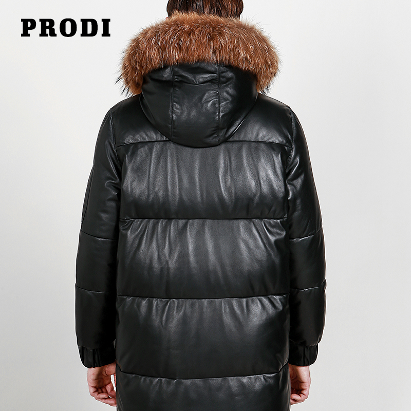 US $512 0  PRODI Men's genuine Lambskin Leather down Jacket with Natural  Racoon Along the Edge of Cap PD1607-in Genuine Leather Coats from Men's
