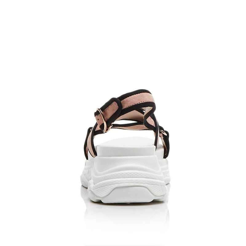 Krazing Pot 2018 kid camoscio streetwear leve e cinturini peep toe cunei scuola Britannica modello della pista gladiatore sandali della piattaforma L55-in Scarpe col tacco medio da Scarpe su  Gruppo 3