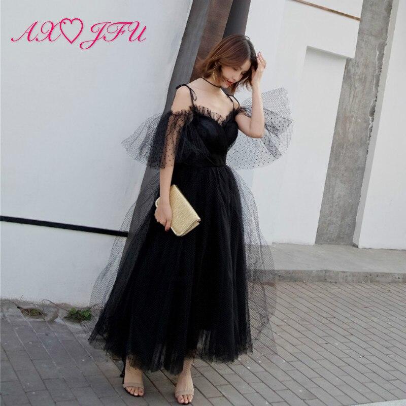 US $105.44 50% OFF|AXJFU luksusowa czarna koronkowa suknia wieczorowa turcja księżniczka czarna długa koronka klasyczna plażowa kokarda suknia