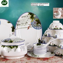 free shipping ceram dinnerware set MICROWAVE USE 56pcs dishes spoons set high quality tableware kitchenwaremic plates