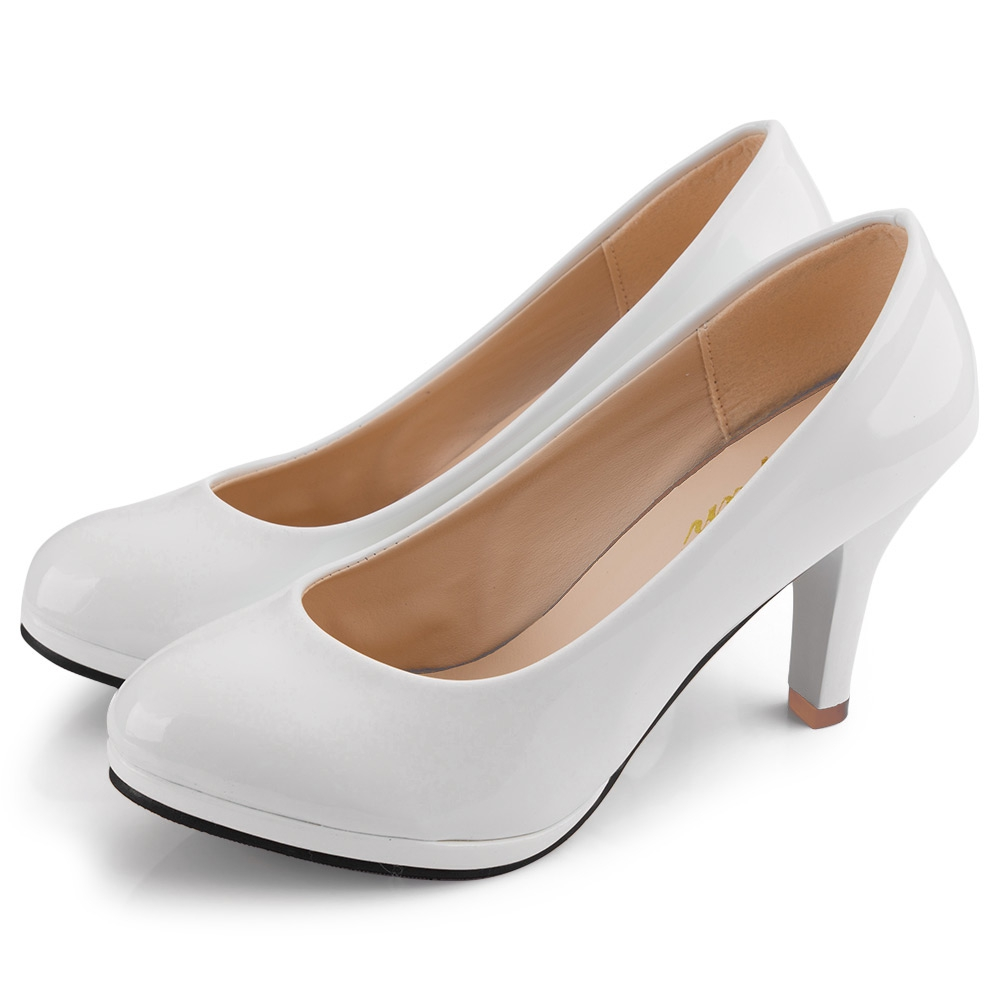 Women Elegant Shoes Ladies Solid Color Shallow Mouth Round Toe Patent Leather Thick High Heel Shoes 4 Colors
