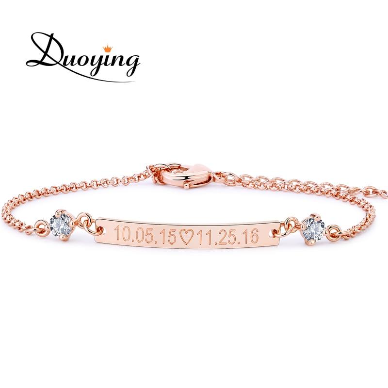 DUOYING Crystal 30*4 mm Bar Bracelet Custom Engraved Name Personalized Initial Bracelet With Zirconia Bracelet For Women Etsy