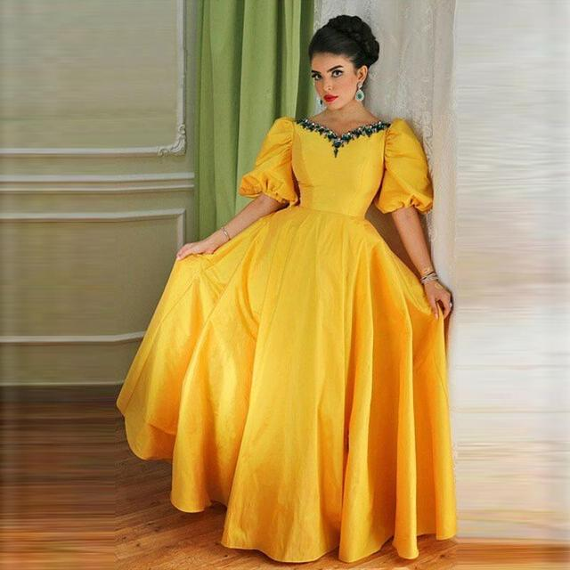 3d206eb189 Arabic Yellow Evening Party Dress V Neck Taffeta Formal Mother Of The Bride  Dresses 2016 Robe Middle East Women Night Dress Gown