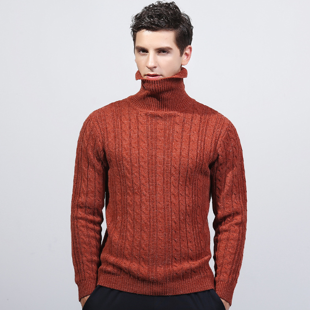5337320f35 Quovadis men s turtleneck sweater orange casual winter British style  pullover knit sweater men pull homme sueter hombre