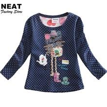 2017 розничная продажа Детские футболки одежда для маленьких девочек футболки с длинными рукавами хлопка вязать футболки в горошек рубашки д...(China (Mainland))
