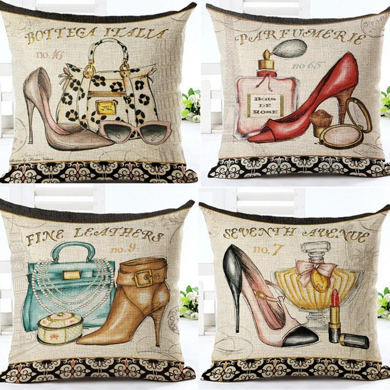 Мода реколта модерно бельо памук Burlap декоративна калъфка възглавница, покриваща диван седалка кола обувки с високи ток парфюм
