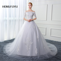 New Arrival Real Picture Boat Neck Tulle Half Sleeve Long Wedding Dresses 2017 Appliques Lace Up