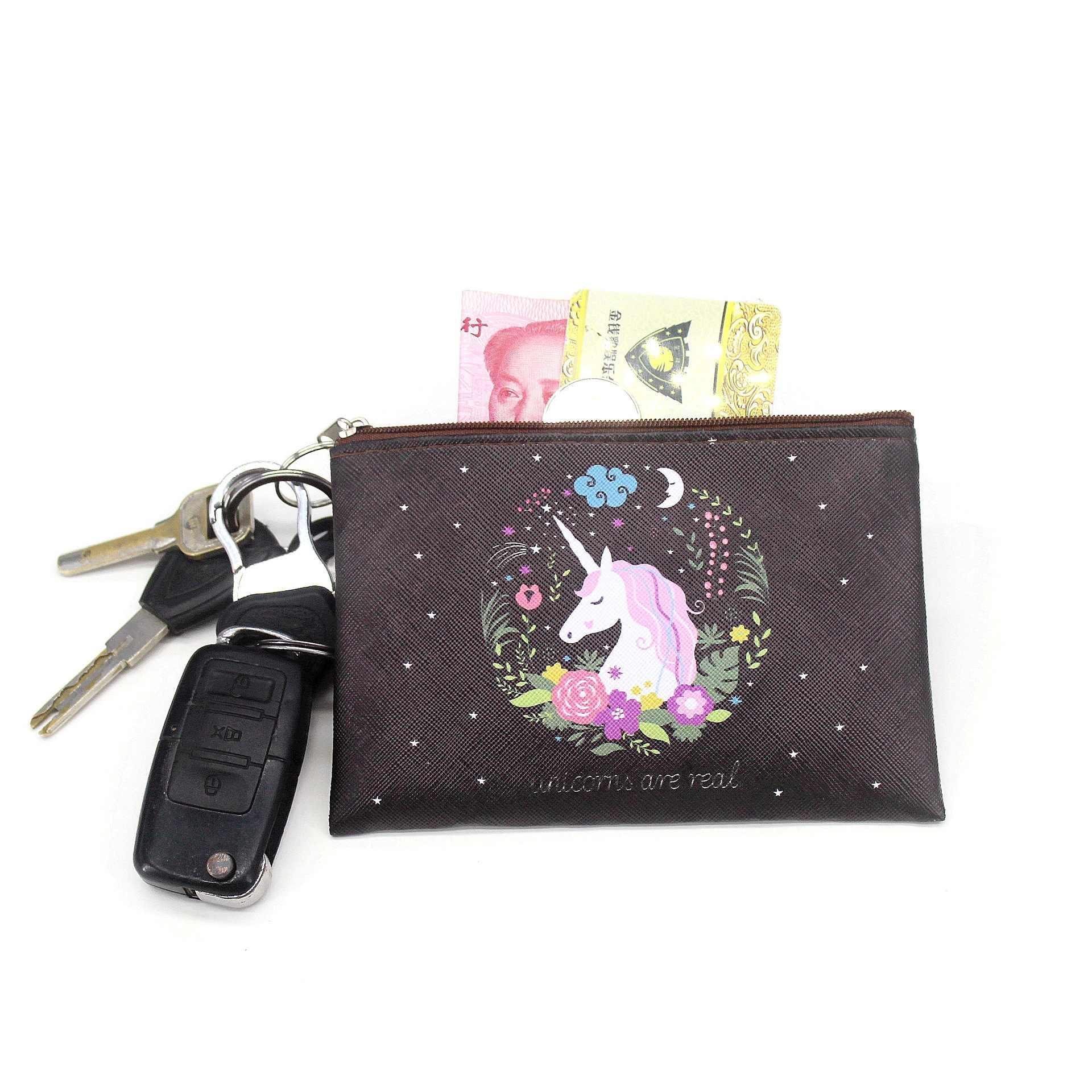 Cartoon jednorożec portmonetki mini portfele damskie śliczna karta posiadacz panie kluczowe worki na pieniądze dla dziewczyn torebka kobieta dzieci dzieci etui