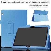 Para T3 10 AGS-L09 AGS-L03 9.6 pulgadas Caja de la Tableta de Huawei MediaPad Litchi Cubierta de Cuero de LA PU Delgado shell + Película Protectora