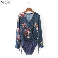 Women Sexy Deep V Neck Floral Print Bodysuit Shirt Cross Bow Tie Long Sleeve Elastic Waist