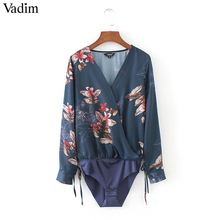Women sexy deep V neck floral print bodysuit shirt cross bow tie long sleeve elastic waist blouse playsuit casual tops LT1800