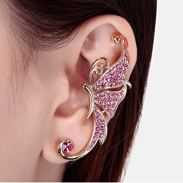 Hot Sale 1PCS Single New Brand Ear Cuff Fashion Jewelry Butterfly Clip on Earrings for Women Jewelry Gift
