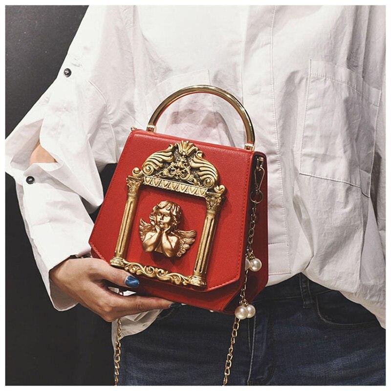 femelle métal baroque cadre d'ange sac à bandoulière boîte en forme d'anneau poignée sac à main pour les femmes chaîne de perles sac de soirée épaule de mariée
