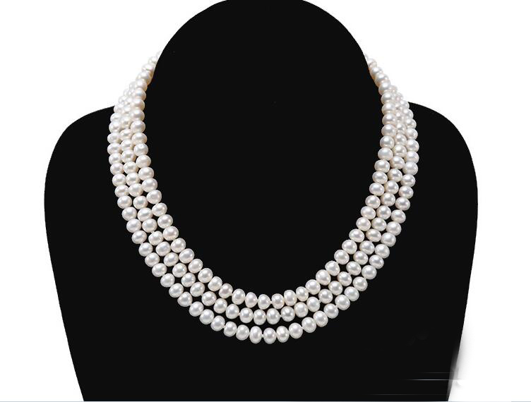 3 Rows Women Jewelry AAA natural pearl 6x7mm bright white freshwater pearl handmade necklace fashion gift3 Rows Women Jewelry AAA natural pearl 6x7mm bright white freshwater pearl handmade necklace fashion gift