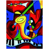 Picasso Music World Painting By Numbers Home Decor Abstract Art DIY Oil Painting On Cotton Wall