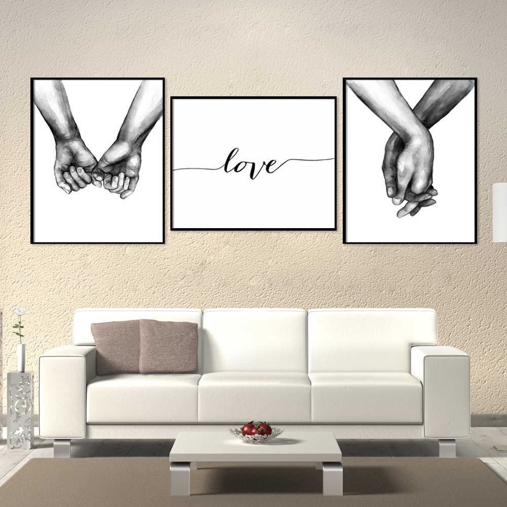 Nordic Poster Black And White Holding Hands Canvas Pictures Lover Quote Wall Art For Living Room Abstract Minimalist Decor