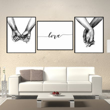 Nordic Poster Black And White Holding Hands Canvas Pictures Lover Quote Wall Art For Living Room Abstract Minimalist Decor(China)