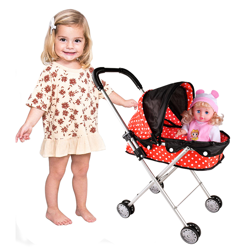 Children Doll Stroller Toy Baby Play House Ladybug Trolley Not Including Simulation Doll Toy Organizer Cart
