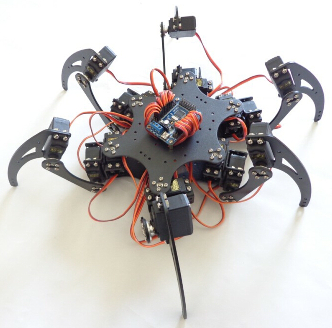 18DOF Aluminium Hexapod Robotic Spider Six Legs Robot Frame Kit No Remote Controller for DIY Robot Accessories F17328 18dof aluminium hexapod spider six legs robot kit w 18pcs mg996r servo