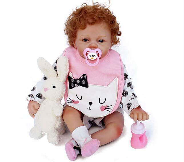 Oyuncaklar ve Hobi Ürünleri'ten Bebekler'de Son yeni 22 inç 55 cm Silikon bebek Yeniden Doğmuş Vinil Bebek Kıvırcık Saç Bebe Reborn Bebekler Oyuncaklar kızlar için hediye bebe yeniden doğmuş'da  Grup 1