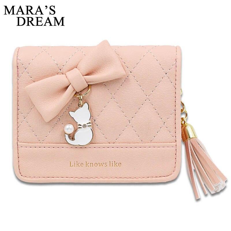 Mara's Dream 2018 PU Leather Women Wallets Short Fashion Mini Small Wallet Zipper Tassel Cute Cat Coin Purse Ladies Card Holder