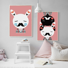 Nordic Cute Pink Cartoon Animal Bunny Canvas Art Abstract Painting Print Poster Picture Wall Children Room Decoration A4 A3 A2