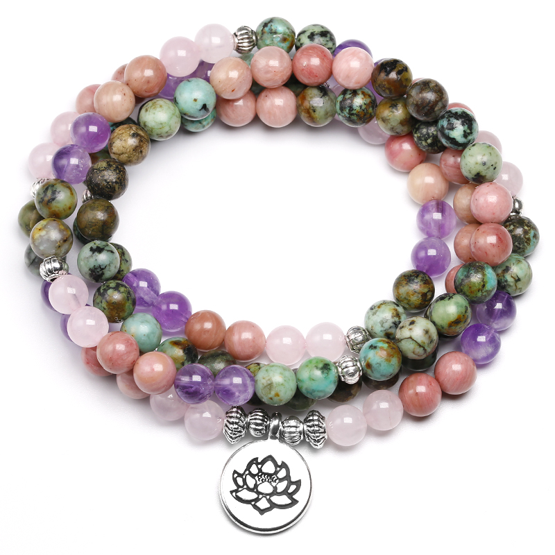 Natural African Turquoise With Rose Quartz Beaded Bracelet Women 6MM Amethys-t and Rhodochrosite Bangle Unisex Jewelry Gift
