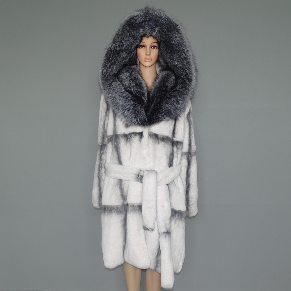 Real Fur Coat Natural Fur  Lexus Rex Rabbit Fur Coat Woman Fox Fur Collar 23