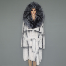 real fur coat natural  lexus rex rabbit woman fox collar 23