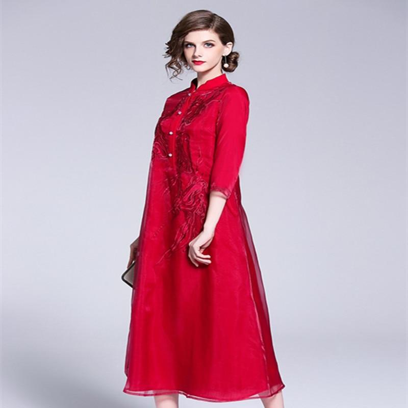 Blanco rojo Vintage Prom vestido femenino otoño 2018 mujeres exquisito bordado Becerro de La Manga del cuarto de tres más El vestido del tamaño 1950 s - 2