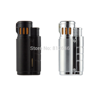 COHIBA Accessories Portable Pocket Metal 3 Torch Windproof Refillable Lighter Butane Gas Cigarette Cigar Lighter By