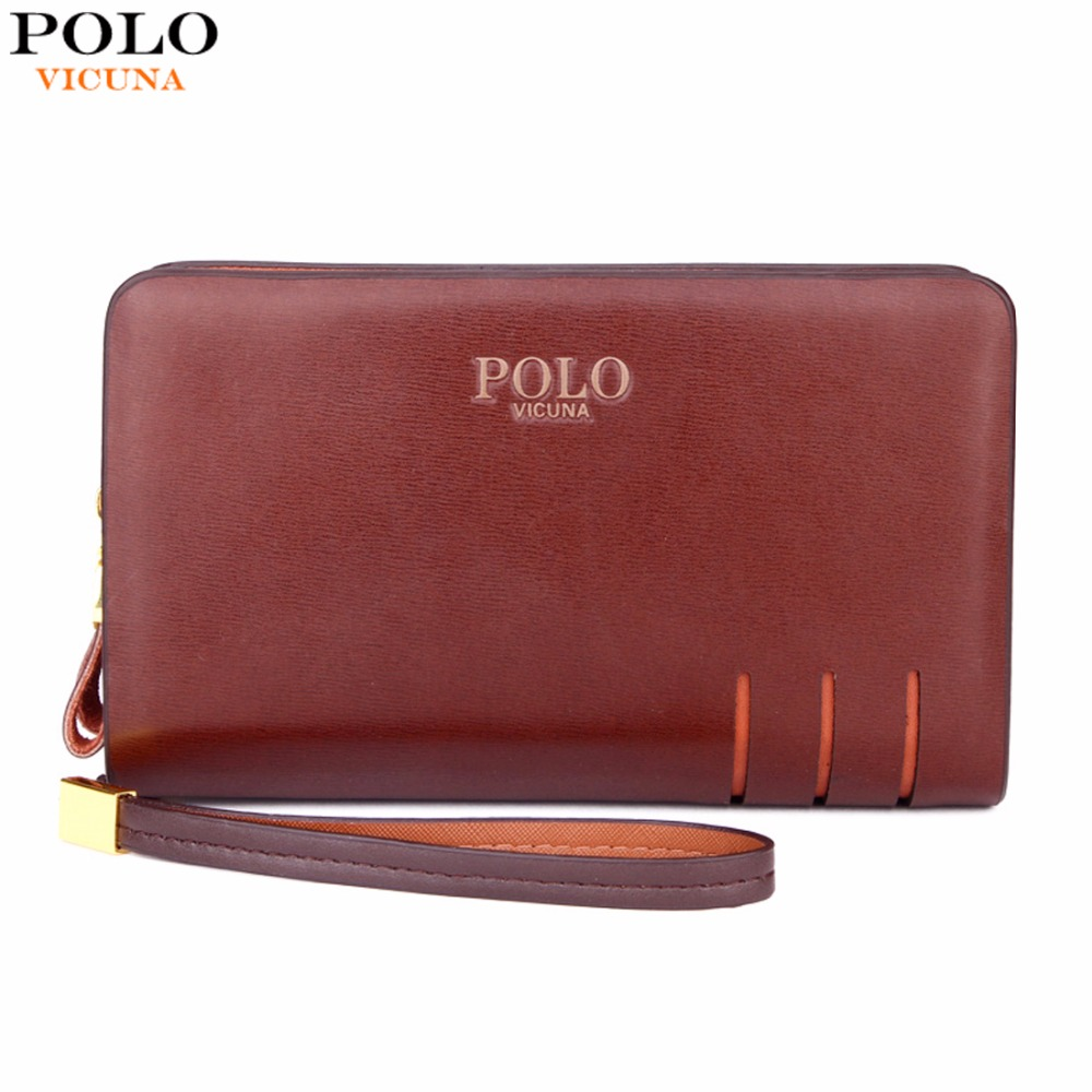 VICUNA POLO Double Zipper Business Leather Mens Clutch Wallet Brand Men Purse Big Size Hollow Out Design Leather Clutch Handbag hollow out zipper design backless romper