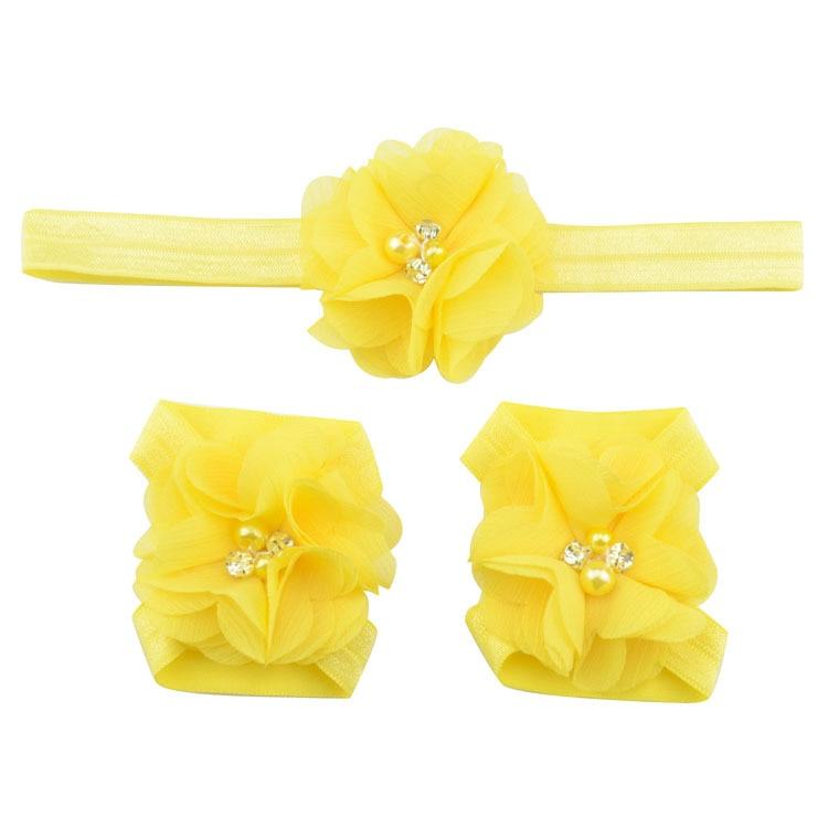 Детская повязка на голову; Детские босоножки ботинки со стразами и цветами; комплект с повязкой на голову; обувь; реквизит для фотосъемки; Детские аксессуары для волос - Цвет: yellow