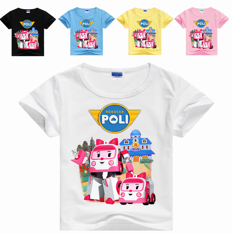 Children Summer T Shirt robocar poli Funny Cartoon Short Sleeve T-Shirts For Boys Girls Tops Kids Tshirt 8 10 11 12 13 14 Years