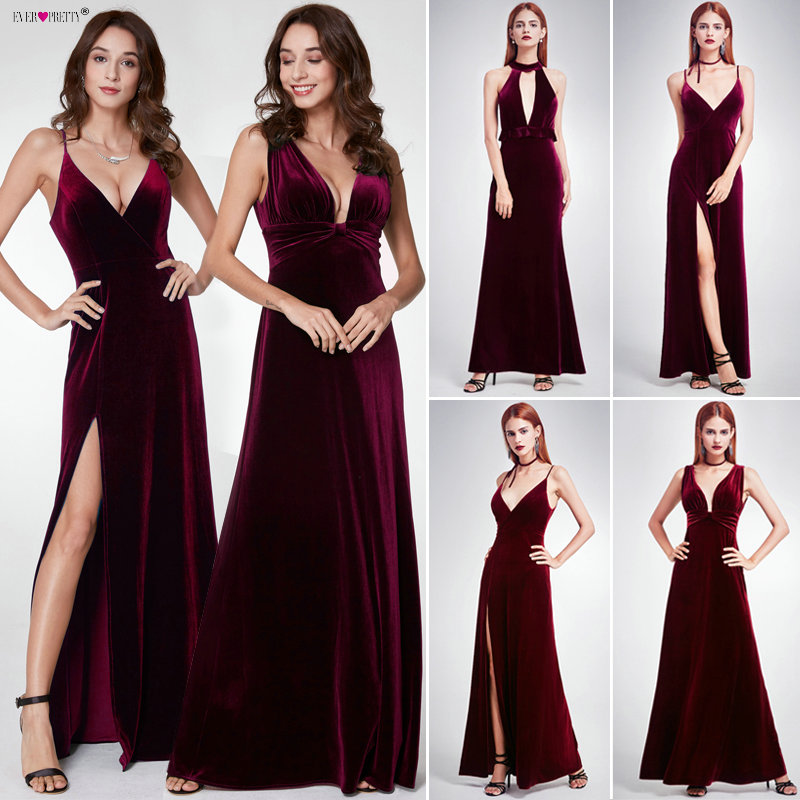 Robe De Soiree Sexy Velour   Evening     Dresses   Ever Pretty 07181 Deep V Neck Design Elegant Winter Autumn Velvet   Evening   Gowns 2019