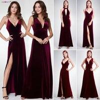 robe de soiree Sexy Velour Evening Dresses Ever Pretty 07181 Deep V Neck Design Elegant Winter Autumn Velvet Evening Gowns 2018
