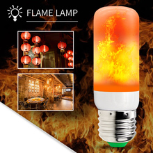 E27 LED Flame Effect Lamp 220V Flickering Bulb 110V Corn Light 2835SMD Simulation Fire 42leds Burning