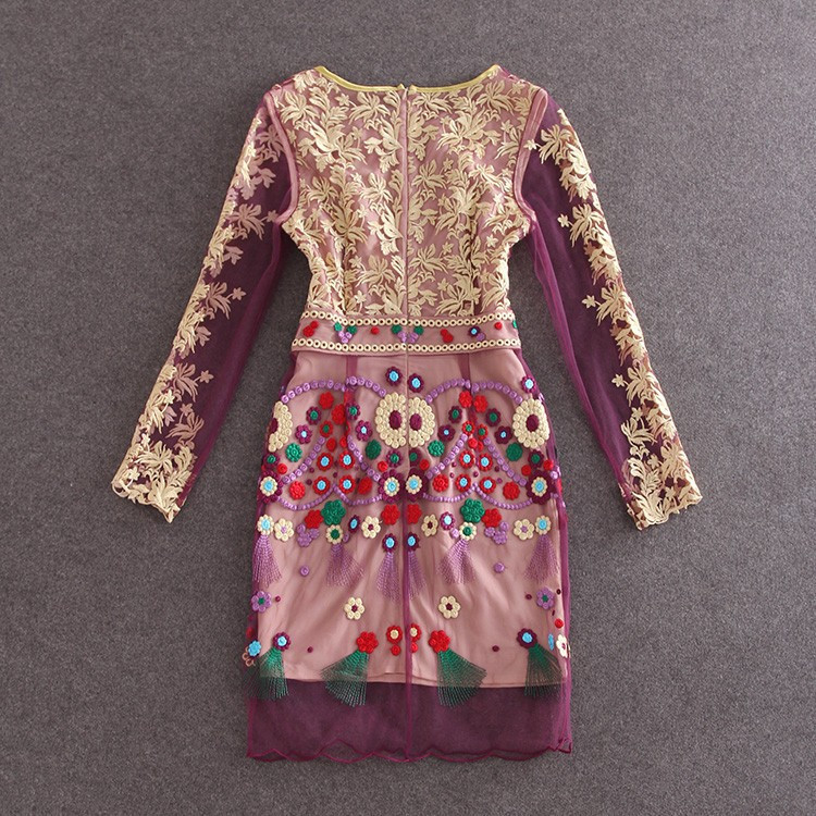 HIGH QUALITY S-XL New Fashion 2017 Women's Long Sleeve Gauze Gold Thread Luxury Embroidery Dress Autumn Dress 5