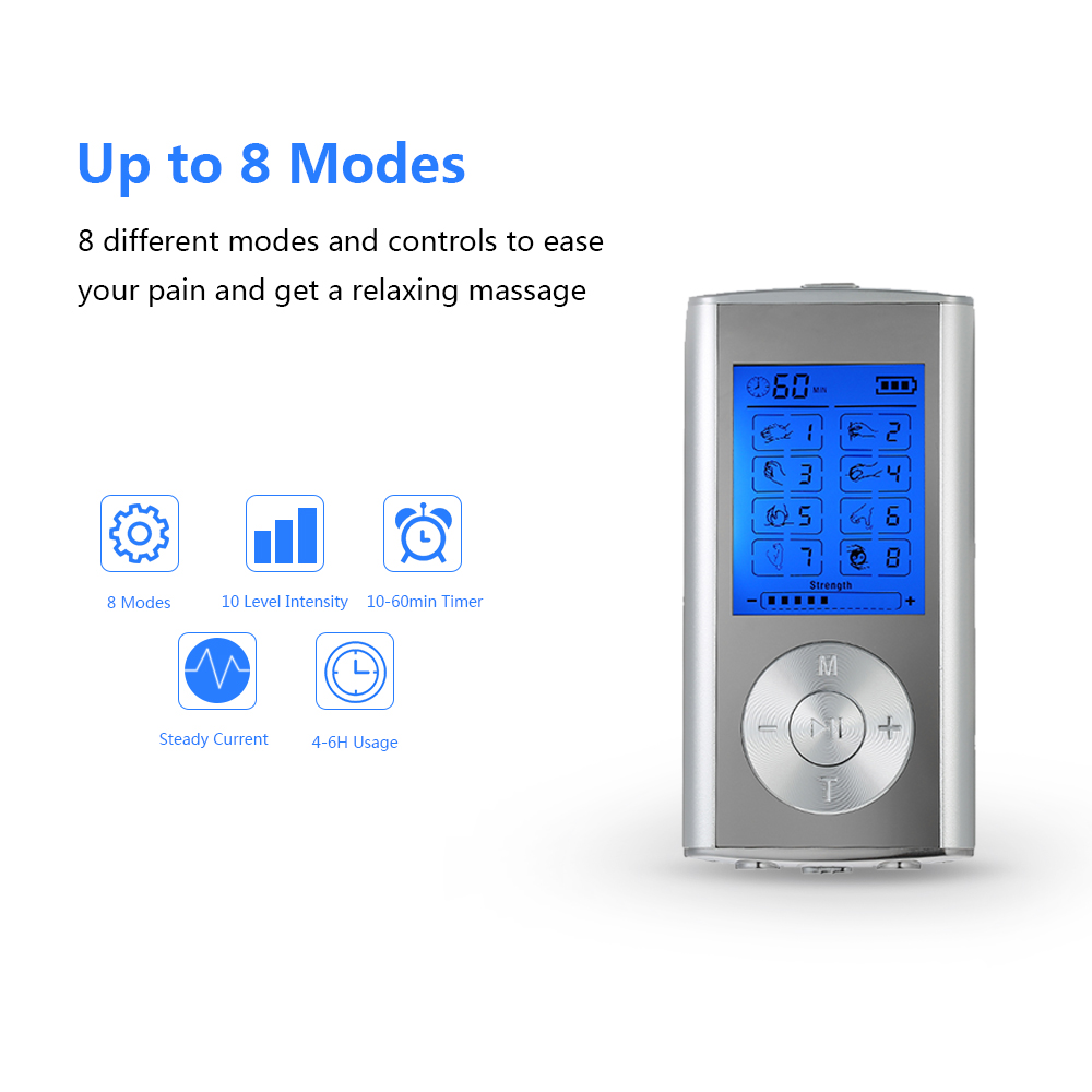 Carevas Massager Rechargeable Electric Pain Relief Machine 8 Modes Tens Unit Portable Pulse Massager Muscle Stimulator Therapy hot electric slimming full body relax pulse muscle stimulator tens therapy machine massager vibrateur with 20pcs tens pads