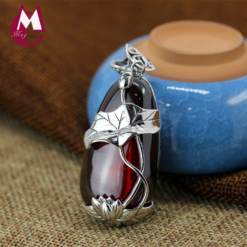 Vintage Yellow Chalcedony Women Pendant S925 Sterling Silver Necklaces Pendants Hollowe Fish Lotus Leaves Garnet Jewelry SP03